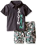 Calvin Klein Baby-Boys Jersey Polo Shirt and Camo Twill Shorts, Gray, 12 Months