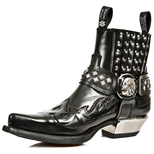 New Rock M.7950-S9 Schwarze Skull Strap Leder West Steel Heel Stiefeletten