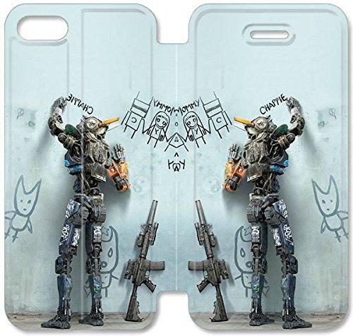 Flip étui en cuir PU Stand pour Coque iPhone 5 5S, bricolage 5 5S étui de téléphone cellulaire Cartoon Film Chappie Intelligent Robot Housse en cuir Coque iPhone G5K4HT Pour Men Hard