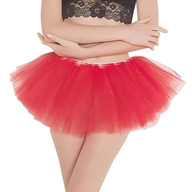Theshy Falda de Ballet para Mujer Estilo Vintage con tutú Rojo ...