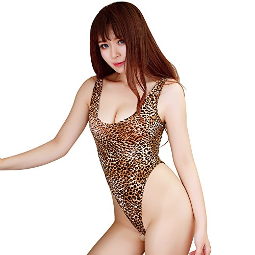 [Women's One Piece High Cut Swimsuit Monikini Leopard Snake Print Low Back Thong Leotard Bodysuit Bathing Suit] (Tanning Mom Halloween Costume)