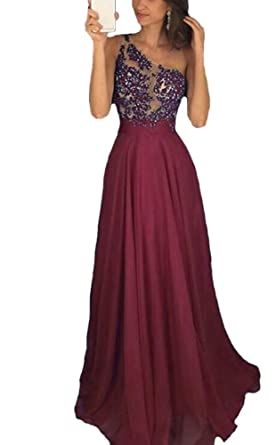 Holygift Prom Dress One Shoulder Beaded Long Chiffon Formal Dresses for Women Burgundy US0