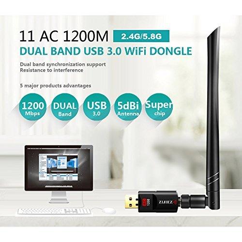 1200Mbps Wireless USB Wifi Adapter , ZIJIEZ Dual Band 2.4G/5G 802.11ac Network Adapter USB Wi-Fi Dongle Adapter With 5dBi Antenna For Laptop Desktop Windows XP/7/8/8.1/10,Mac OS X 10.9-10.12.
