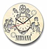 Cheap 7ArtsStudio Nirvana Wall Clock Made of Wood – Perfect and Beautifully Cut – Decorate Your Home with Modern Art – Unique Gift for Him and Her – Size 12 Inches