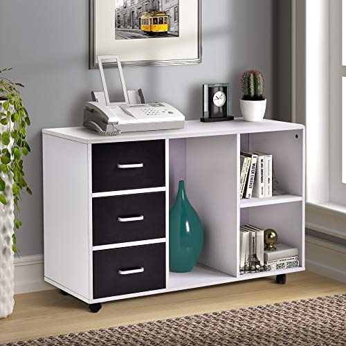 Mobile Lateral File Cabinet with Open Storage Shelves, 3 Drawers Office Filing Cabinet on Wheels, White ()