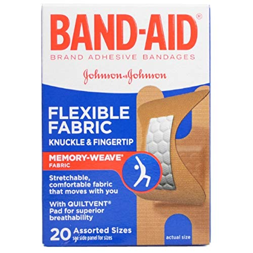 BAND-AID Flexible Fabric Bandages Knuckle & Fingertip 20 Each (Pack of -