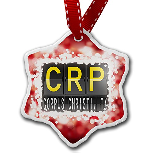 Christmas Ornament CRP Airport Code for Corpus Christi, TX, red - Neonblond