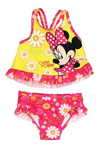 Minnie Mouse Girls Swimwear Swimsuit (2T, Yellow/Pink - Swimwear