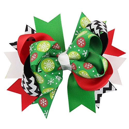 Love Sweety Girls Christams Boutique Hair Bows Clips Grosgrain Barrette Hairpin (Wave Black)