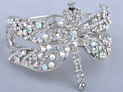 Alilang Womens Silvery Tone Clear Rhinestones Dragonfly Heart Cutout Bangle Bracelet by Alilang (Image #4)