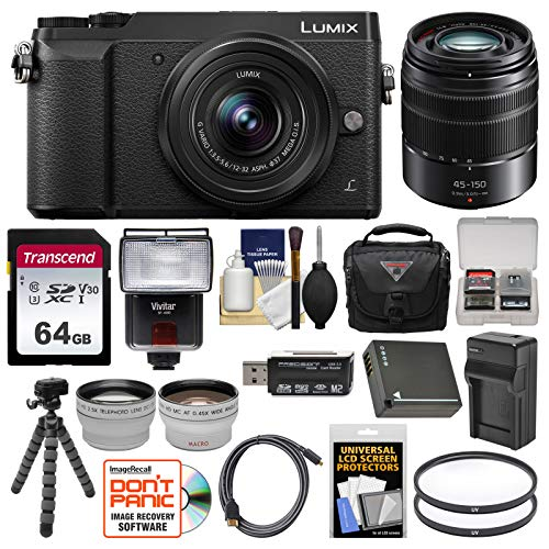 Panasonic Lumix DMC-GX85 4K Wi-Fi Digital Camera & 12-32mm (Black) & 45-150mm Lens with 64GB Card + Battery & Charger + Case + Tripod + Filters + Flash + Tele/Wide Lens Kit