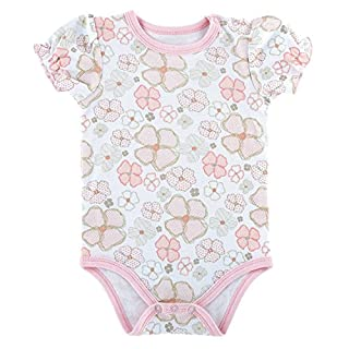 Stephan Baby Playful Posies Pink and Gray Floral Snapshirt-Style Diaper Cover, 3-6 Months