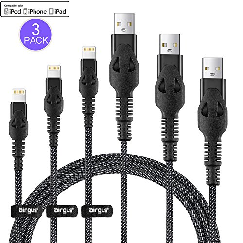 Birgus iPhone iPad Charger Cable [3 Pack] 3.3/6.6/10FT Nylon Braided 8 pin LIGHTNING to USB A Charging Cord for Apple i7/7 Plus 6/6s Plus 5, iPad Pro Air 2 mini 4 3 2, iPod touch 5th 6th nano 7th (2 Gen Nano)