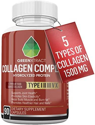 Multi Collagen Peptides Capsules (Types I,II,III,V,X) All Natural Hydrolyzed Protein Supplement, Anti Aging Formula, Strong Healthy Skin Hair Joints Bones & Nails, for Women & Men