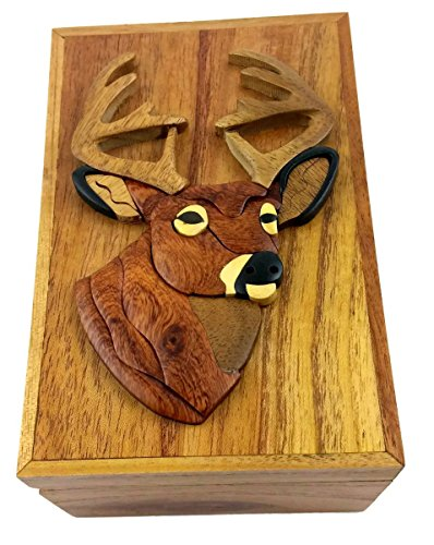 Oberstuff.com Deer Buck Head, 6 x 4 x 3.25 Jewelry/Storage Box. All Natural Exotic Woods with Brass Hinged Lid. Hand-Made Wood Applique Design on Lid.