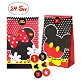 MALLMALL6 24Pcs Mickey Candy Treat Bags Party Favor Paper Bags Birthday Party Goodie Bags Mickey Themed Party Dessert Bags with Mickey Stickers for Kids