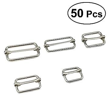 SUPVOX Ajustador de rectángulo metálico Triglides diapositivas Hebilla Ajustable Triglide Roller Pin hebillas Ajustador de la correa para los sujetadores ...