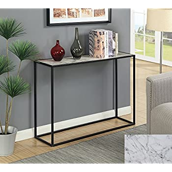 Convenience Concepts 413499BL Gold Coast Faux Marble Console Table, Faux  Marble / Black