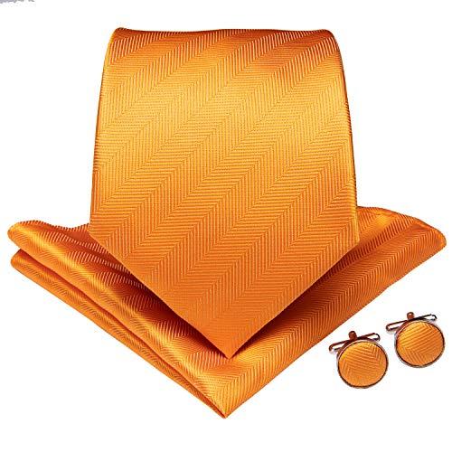 DiBanGu Men's Silk Tie and Pocket Square Woven Solid Tie Cufflink Clip Set Business (Orange) ()
