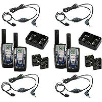 Cobra CXR825 30 Mile 2-Way Radios + Earbud & Mic Headsets, 2 Pairs (4 Total)