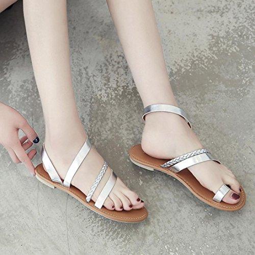En Mujeres ZARLLE Punta Zapatos Con Las Chanclas Plano Baja Sandalias De Planas Plateado Romana Mujer Sandalias De Talon Sandalias Cruz Verano Gladiador qgOrOwXY