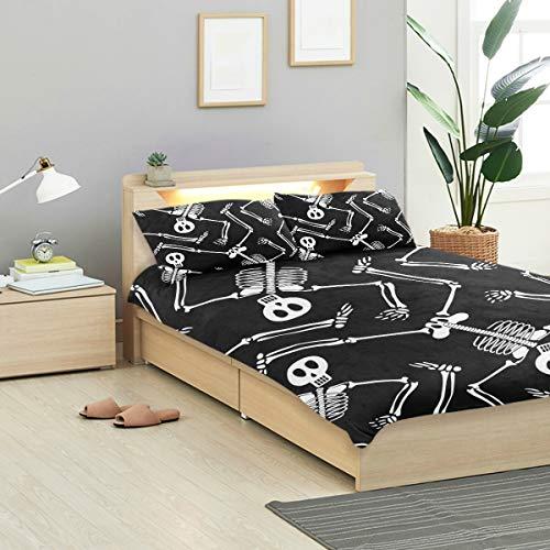 (MONTOJ Cool Skeleton Skull Pattern Bed Sheets Set Standard Bedspread Twin Size Cover Kids Duvet Cover Set 3-Piece Bedspread)