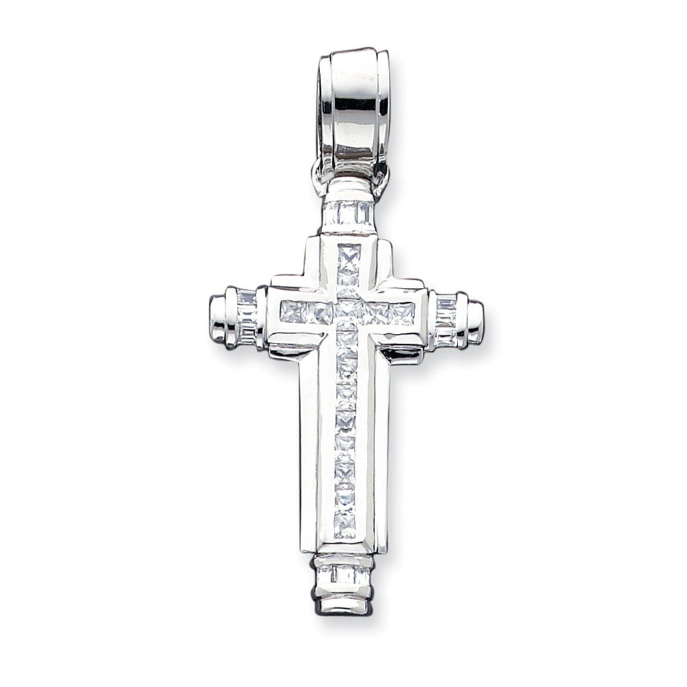 Sterling Silver CZ Cross Pendant 33 mm 68 mm Themed Pendants /& Charms Jewelry