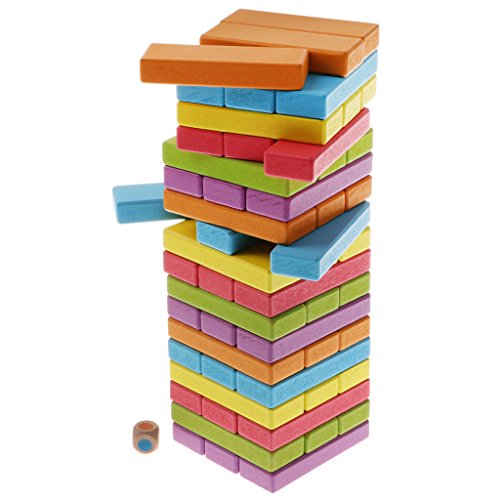 Homyl 54 Pieces Wooden Blocks Tower Stacking Throwing Dice And Take Out Block Board Balancing Game Toy Party Favors by Homyl