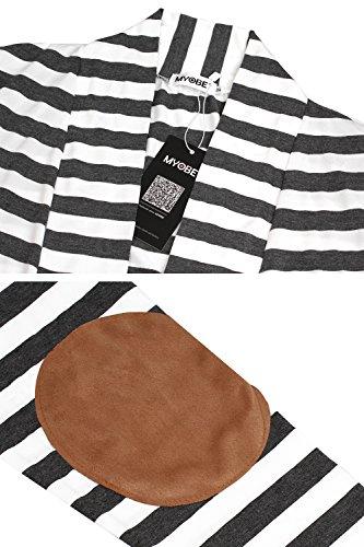 5baaba7604 Myobe Women s Black White Elbow Patch Shawl Collar Summer Striped Boyfriend Open  Front Cardigan Sweaters Coat