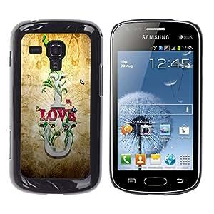 Qstar Arte & diseño plástico duro Fundas Cover Cubre Hard Case Cover para Samsung Galaxy S Duos / S7562 ( I Love U Quote Slogan Romance Relationship)