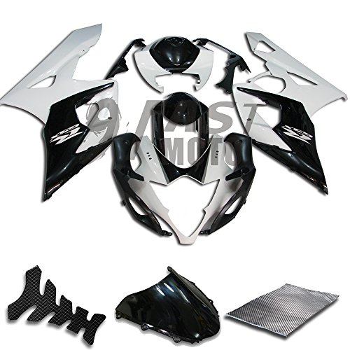 9FastMoto Fairings for suzuki 2005 2006 K5 GSXR1000 GSXR 1000 05 06 GSX R1000 K5 Motorcycle Fairing Kit ABS Injection Set Sportbike Cowls Panels (White & Black) S0322