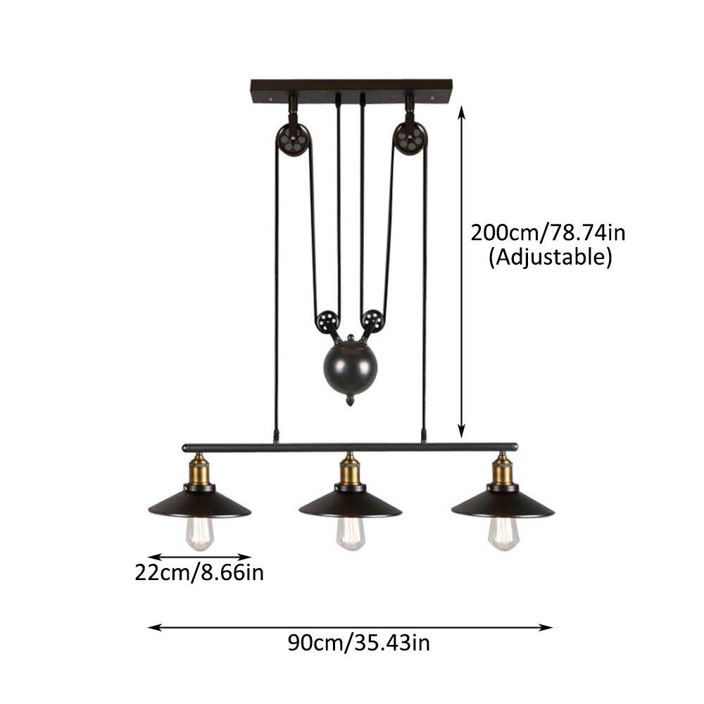 Amazon.com: Lámpara colgante de polea vintage, estilo retro ...