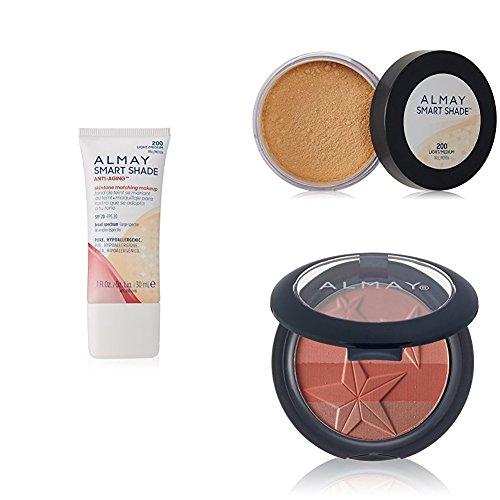 Almay Smart Shade Face Collection - Anti-Aging Skintone Matching Liquid Foundation, Loose Finishing Powder & Powder Blush, Light Medium & (Anti Aging Collection)