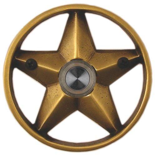 Waterwood Solid Brass Lone Star 3 1/4'' Doorbell in Antique Brass