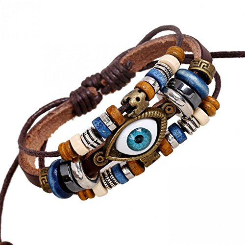 80 Punk Rock Costumes Ideas (BMALL Leather Punk Rock Evil Eye Leather Bracelet Colorful Beads Bracelets Women Lb1417)