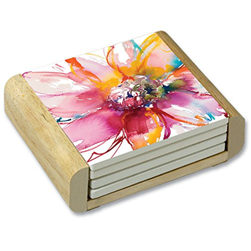 CounterArt Flower Burst Watercolor Absorbent Coasters in Wooden Holder, Set of 4 ()