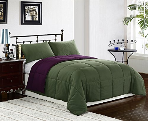 cozy beddings 2pc twin size comforter set plum purple olive green reversible down. Black Bedroom Furniture Sets. Home Design Ideas