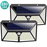 Solar Lights Outdoor 180 LED, [2500mAh High Capacity Super Bright] Kilponen Solar Security Lights Motion Sensor 270º Solar Powered Lights Wall Lights Waterproof with 3 Modes for Outside (2 Pack)