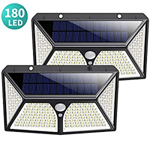Solar Lights Outdoor 180 LED, [2500mAh High Capacity Super Bright] Kilponene Solar Security Lights Motion Sensor 270º…