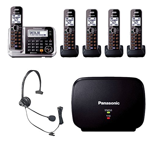 Panasonic KX-TG7875S Bluetooth Enabled Phone w/KX-TG680S DECT 6.0 Cordless Telephone, Headset & Range Extender