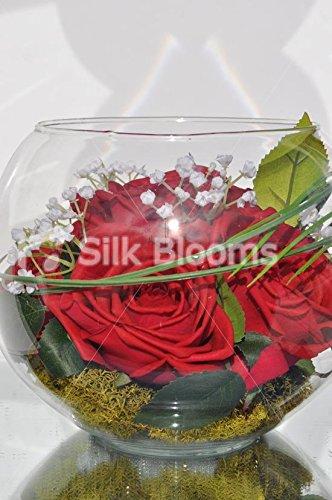 Chic Moderno Rojo de rosa y gypsophila pecera arreglo de mesa con oso Hierba & Verde Musgo: Amazon.es: Hogar