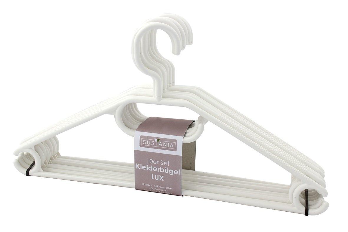 Sustania KleBü - Kleiderbügel 50 Stück in weiß | Wäschebügel aus Kunststoff - Made in Germany Menz Stahlwaren GmbH