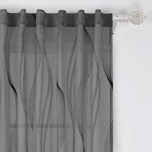 Deconovo Back Tab Curtain Foil Print Waved Vertical Design Rod Pocket Sheer Curtains for Door Windows 52 W x 96 L Dark Grey 1 Panel
