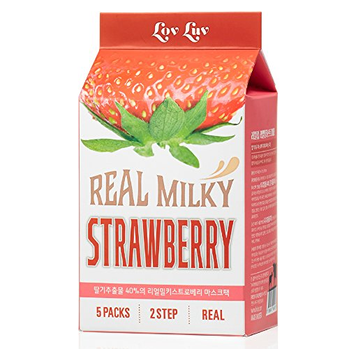 LOVLUV Milky Strawberry Facial Mask Sheet, Pack of 5. Holds Moistures and Nutrients on Your Face with Real Strawberry Extract. Two-Step for Skin Pore Care. Made in Korea [25ml + 1ml] (Strawberry Pack Face)