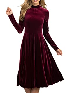 436c93bfbf8f Inorin Womens Velvet Dress A Line Long Sleeve Fit and Flare Swing Party  Skater Midi Dress