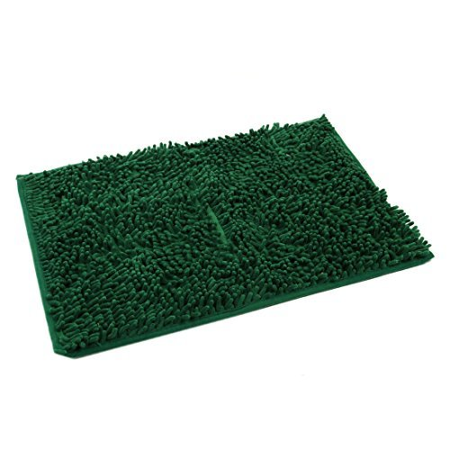 DealMux Absorbent Soft Shaggy Non Slip Bath Mat Bathroom Shower Home Floor Rugs Carpet(Dark Green 40x60cm)