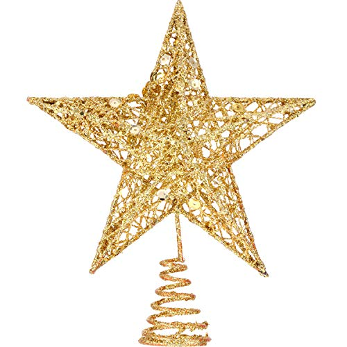 Bememo 8 Inches Exquisite Shimmery Christmas Tree Topper Star Tree Topper for Christmas Tree Decoration (Gold)