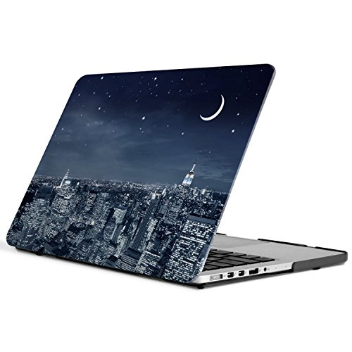iCasso New Art Fashion Image Series Ultra Slim Light Weight Rubberized Hard Case Glossy Clear Crystal Snap-On Hard Cover Case for MacBook Pro 13 inch Retina (Model: A1425/A1502) - City Night