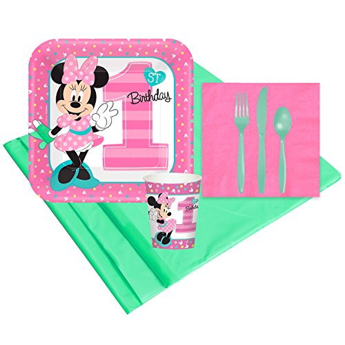 Disney Minnie Mouse 1st Birthday Party Supplies - Party Pack for 8 Guests for $<!--$17.21-->