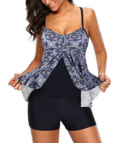 Full Coverage Halter Tankini (Swiland Full Coverage Plus Size Swimwear Womens Swim Suits 2 Piece Tankini,Multi-Colored,3XL)